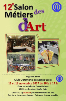 12e salon métiers d'art organisé par club optimiste Sainte-Julie