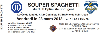 Souper Spaghetti 2018 Club optimiste St-Eugène