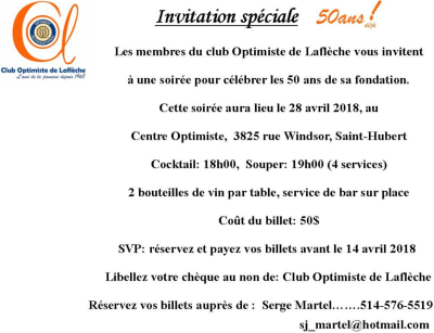 50 ans club Optimiste de Laflèche  28 avril 2018