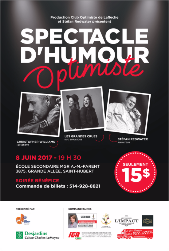 Club optimiste de Laflèche Spectacle d'Humour 8 juin 2017