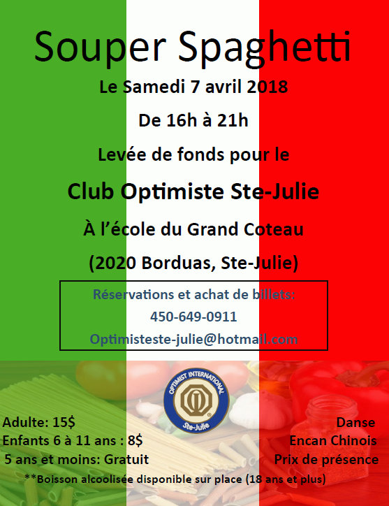 Souper spaghetti samedi 7 avril 2018 club optimiste Ste-Julie