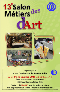 13e salon des métiers d'art 2018  club optimiste Sainte-Julie