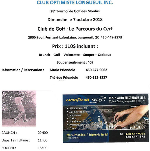 Club optimiste Longueuil tournoi de golf le 7 octobre 2018
