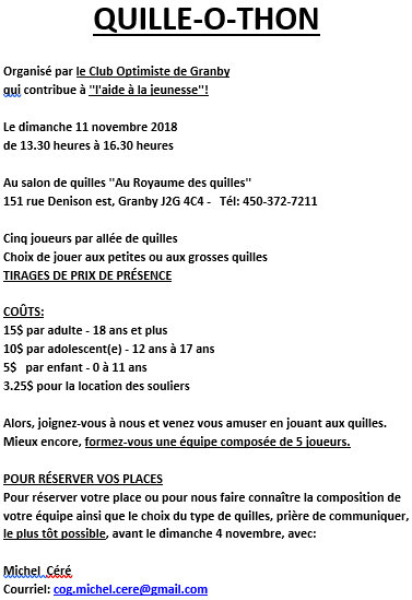 Quille-o-thon club optimiste Granby- 11 novembre 2018