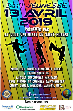 Défi Jeunesse  13 avril 2019  club optimiste de Saint-Hubert