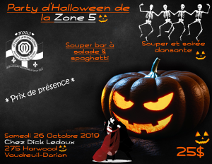 Party d'Halloween de la Zone 5 - 26 octobre 2019