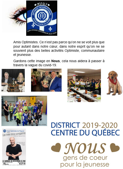 Message de  Gérard Spedding  secrétaire 2019-2020 club optimiste Longueuil
